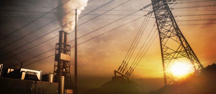 bild på energikraftverk i solnedgång
